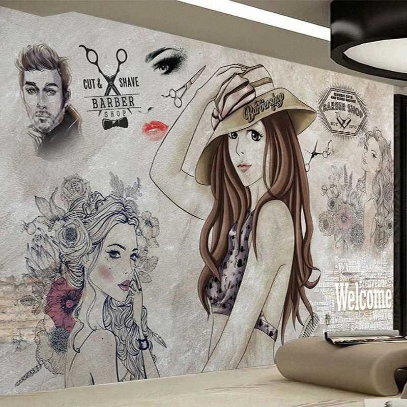 Envío de la gota encargo de la foto del papel pintado fondo pintado a mano de belleza peluquería Herramientas Pinturas de decoración de la pared Papel de parede 3D w3wy #