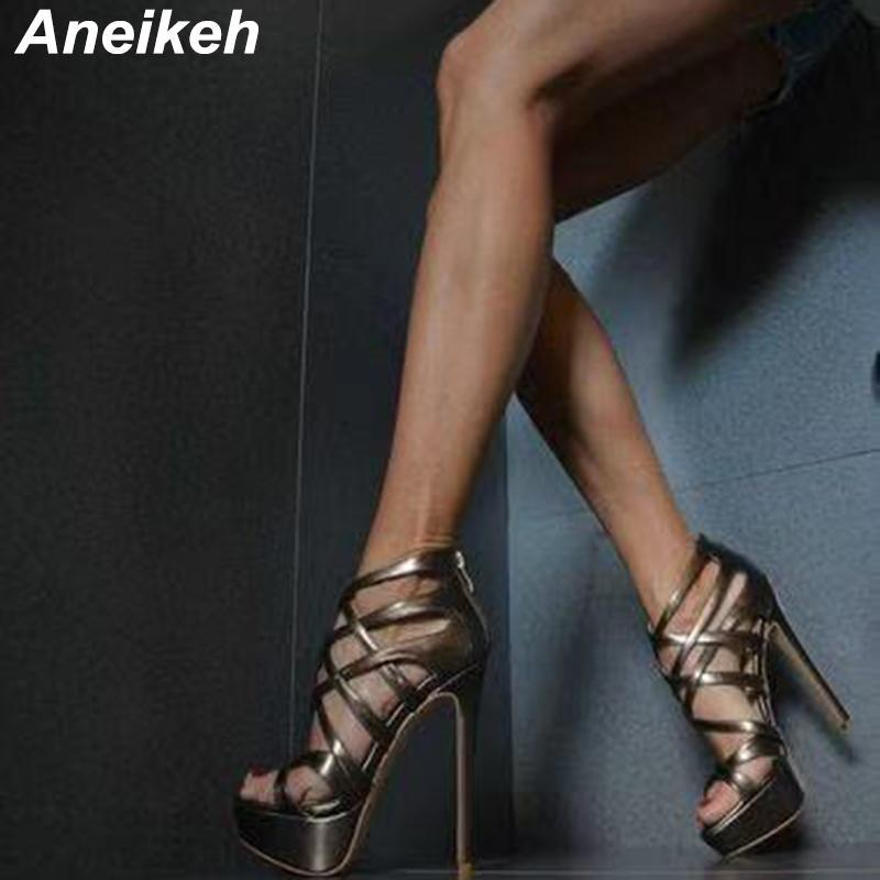 Aneikeh 2021 New Summer PU Women's Shoes Fashion Sandals Party Platform ZIP Solid Rome Ankle Strap Peep Toe Golden Size 34-40