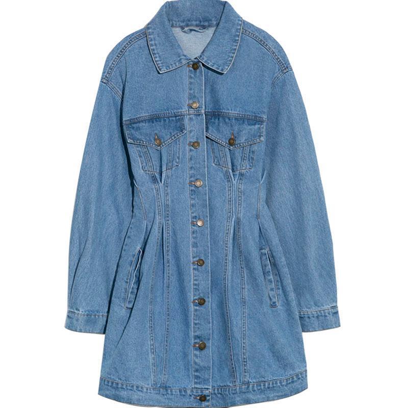 TALVEZ U Denim Vestido Mulheres Casual com botão de bolso Sexy Mini Jeans Vestido Manga comprida D3001 Sólidos Elegante Cor cintura alta