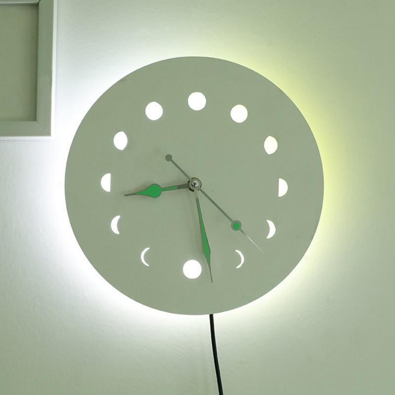 Туальная фаза деревянные настенные часы со светящимисями иглы немой свечение в темном простом стиле домашнего стены искусства декор ремесло