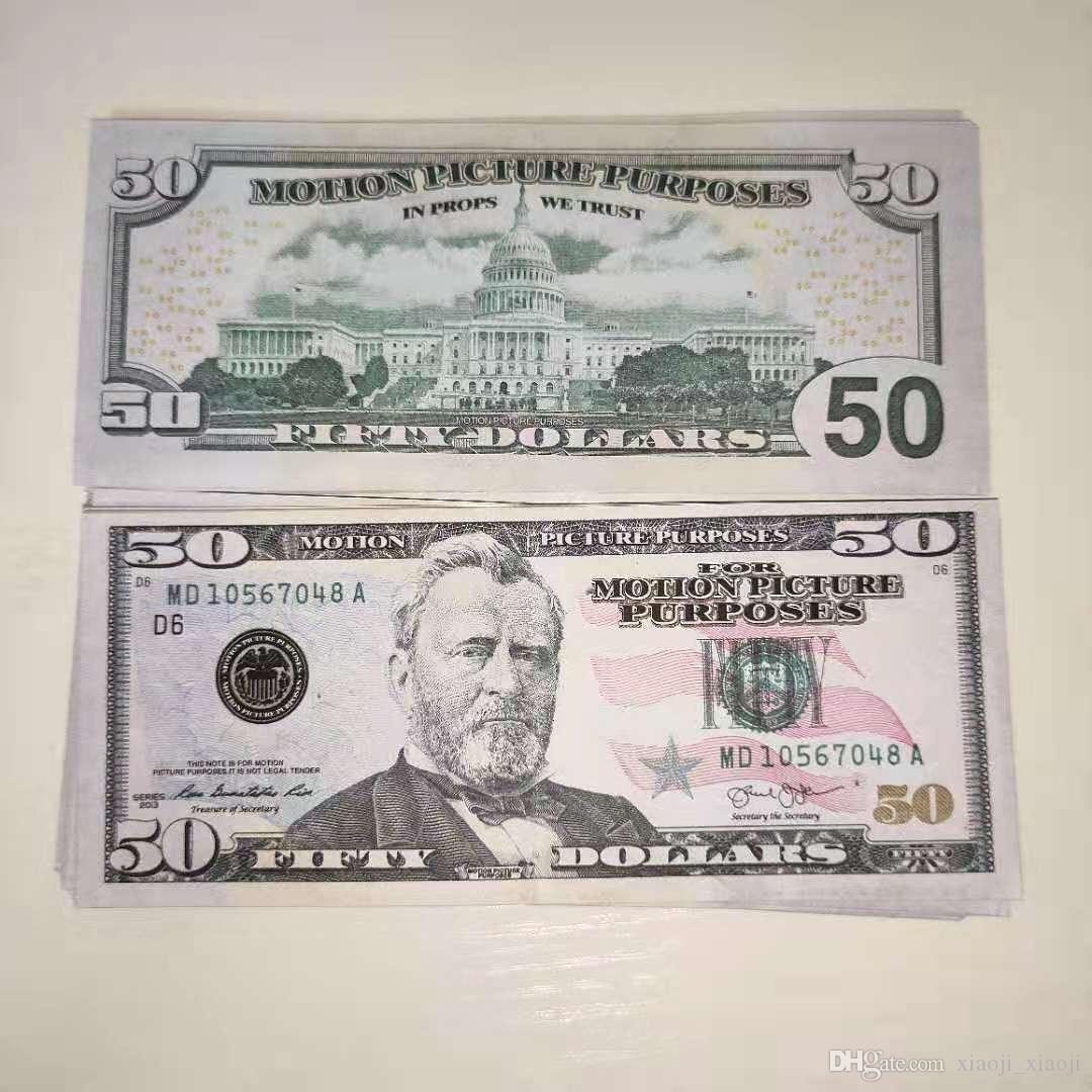 Fake Prop Dollors Copie EE. UU. Copia Billet Billet Money Paper Bill Banque Dollors Pretender Filete Película 50 VRVVG
