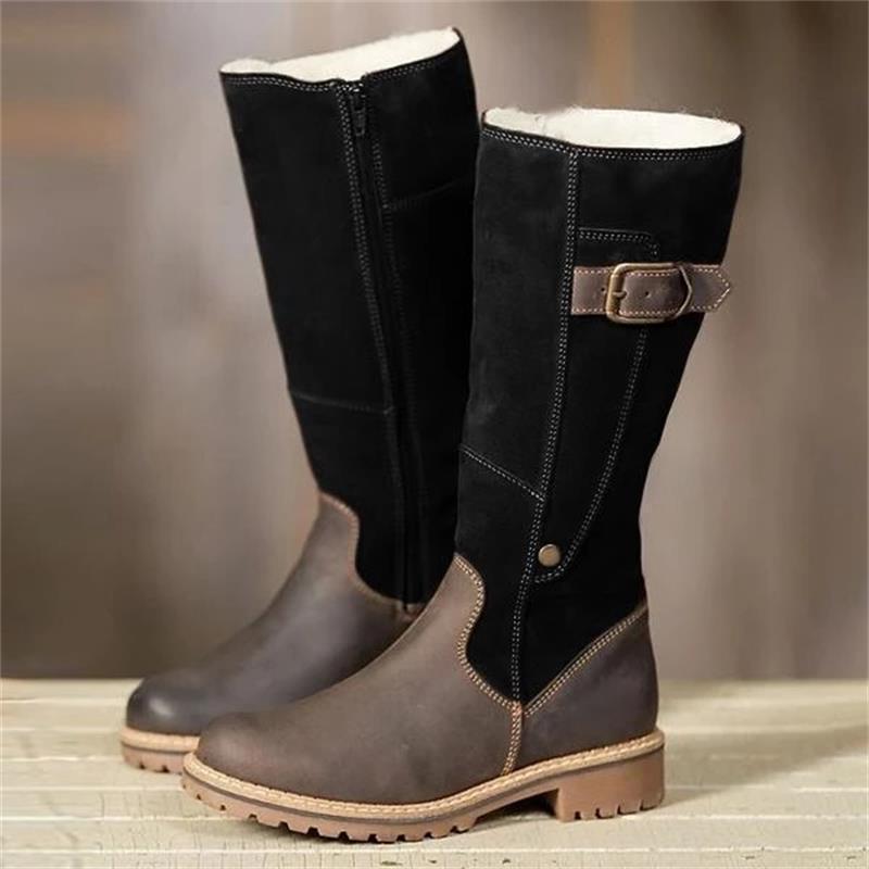 Ботинки новых женщин кожа Флок зима Плюшевые Теплая Kneel Высокие сапоги Luxry дамы Лоскутная плоские ботинки Casual Женский снег