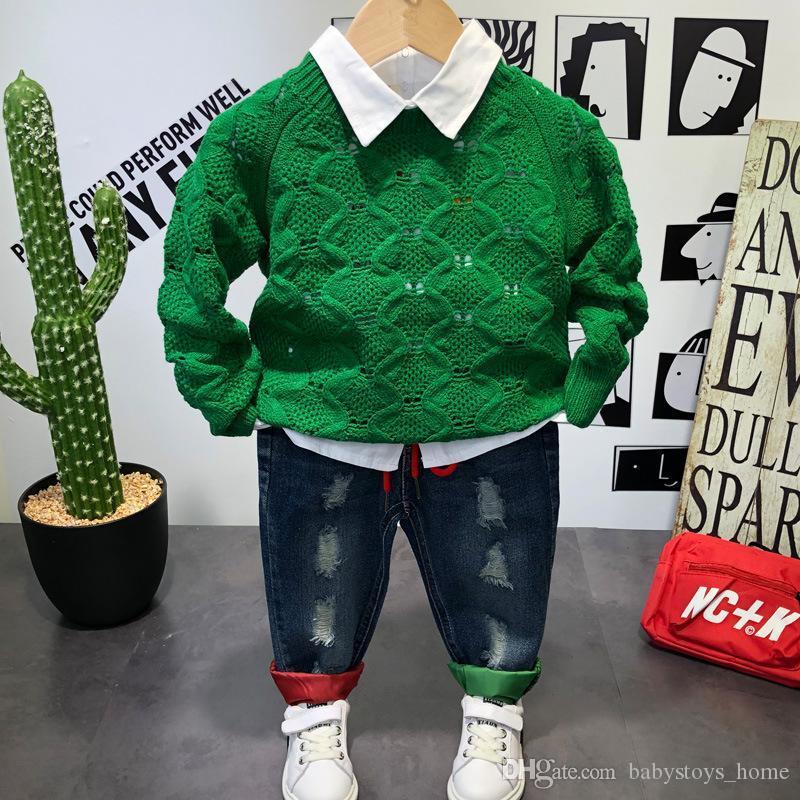Herbst neue Outdoor Junge Pullover Hemd Jeans Modeschule