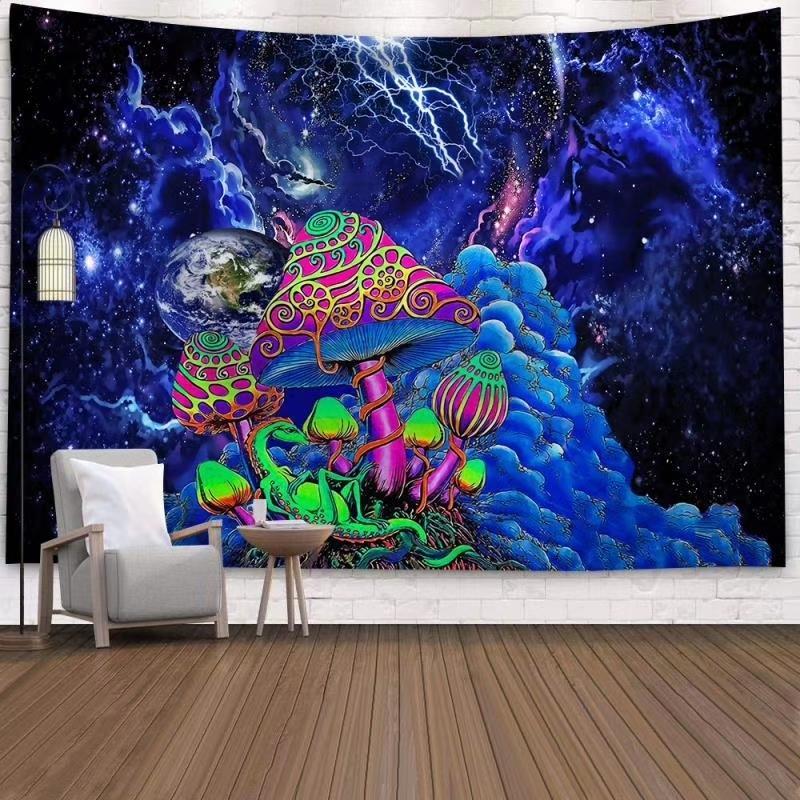 공간 버섯 숲 성 태피스 트리 동화 Trippy 다채로운 드래곤 벽 홈 데코에 대 한 태피스트리 만달라 lj201128