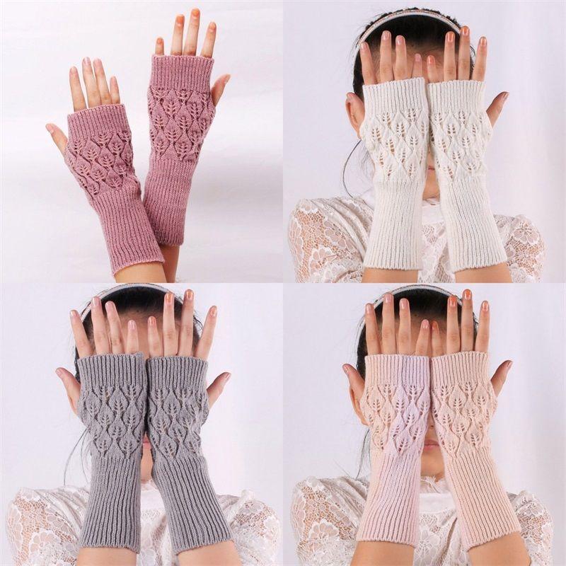 الاكريليك نصف إصبع القفاز 6 اللون الجوف تصميم التهوية المعصم أصابع القفازات ربيع الخريف نساء ديكور كشف أصابع ميت 4 3xq L2