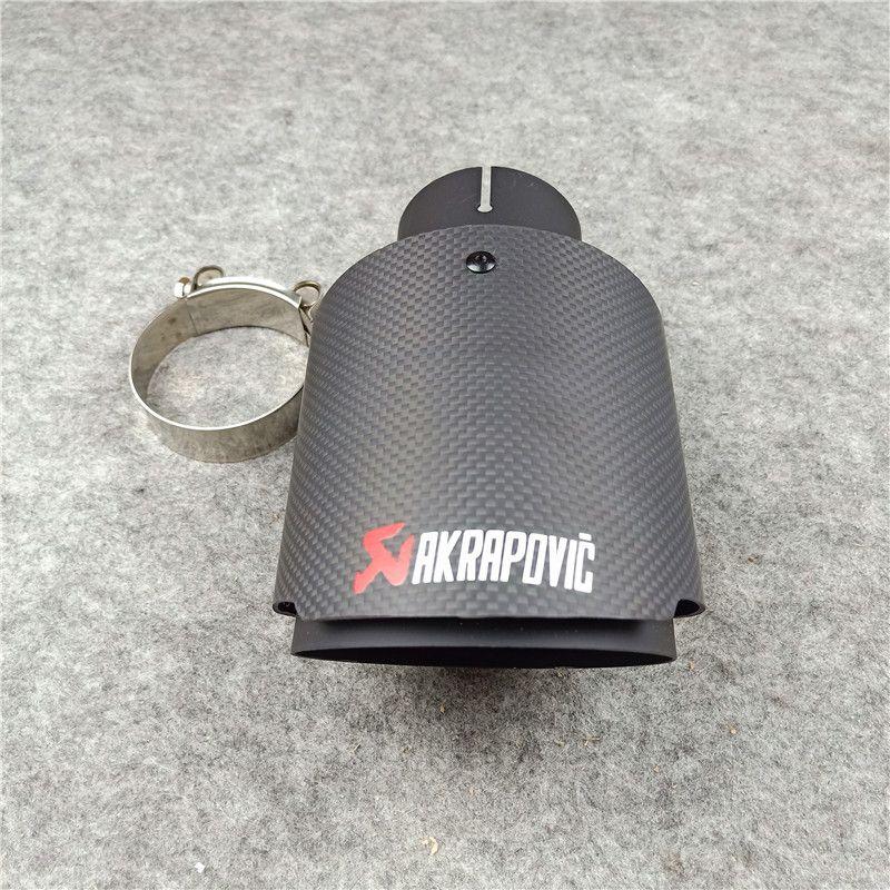 1 pezzo opaco nero in fibra di carbonio akrapovic tubo di scarico auto universale parti auto auto acciaio inox AK silenziatore di silenzio ugelli