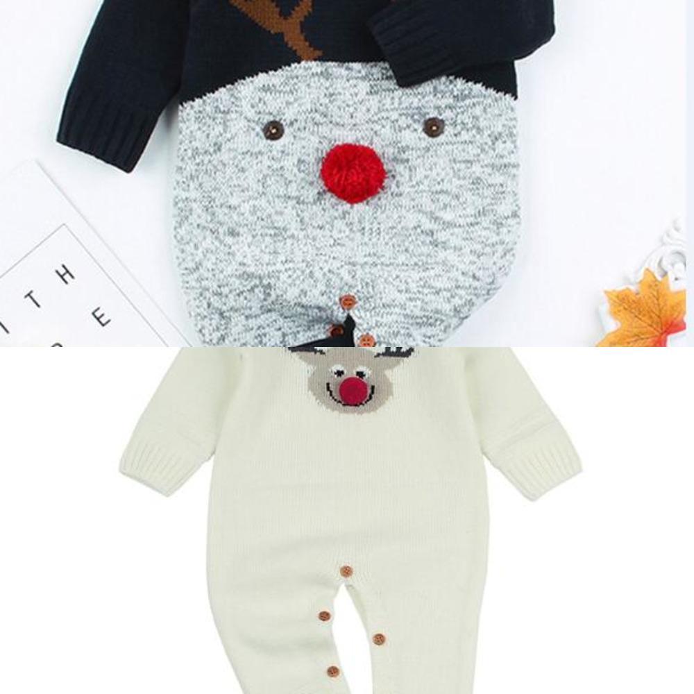 Noël bébé tricoté romper automne hiver née bébé vêtements dessin animé noël cerf bébé romper garçons filles combinaison combinaison combinaison c0126