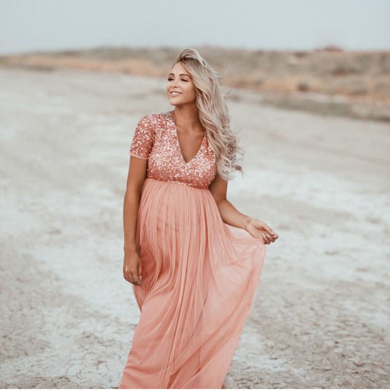 Sevimli Gebelik Fotoğrafçılık Elbiseleri Elezce Annelik Ateş Elbise Sequins Tül Maxi Kıyafet Giysileri Hamile Kadınlar Için Fotoğraf Sahne