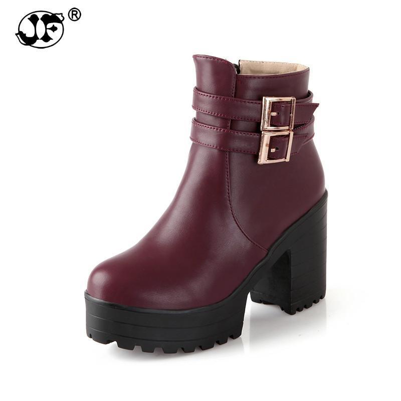 Большой размер 34-43 пряжка квадратные высокие каблуки женская обувь женщина мода толстая платформа черные зимние ботильоны 856ю