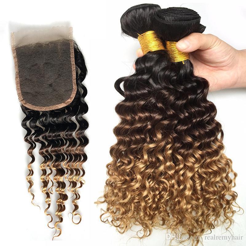 1b 4 27 Cabelo Ombre com fechamento Brasileiro Virgem cabelo profundo 3 pacotes com fecho de renda 100% não transformado cabelo humano encaracolado profundo