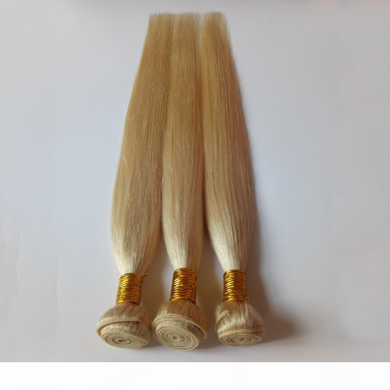 Европейские человеческие волосы уток блондинки # 613 шелковистые прямые 100 г 8-26 дюймов мягкие и гладкие не пролить высокую устойчивость человеческих волос плетение заводской цена