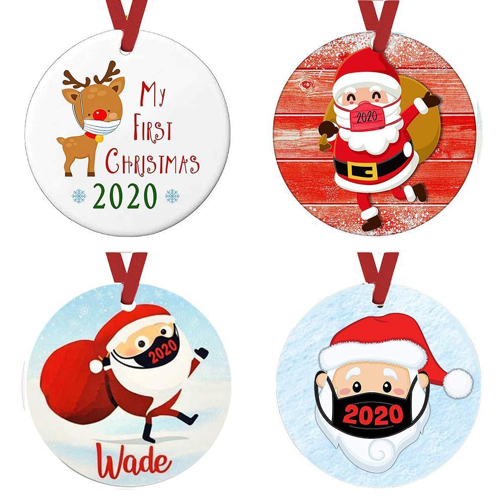 2020 Maschera di Natale quarantena ornamenti personalizzati regalo Survivor famiglia la decorazione di caduta del pupazzo di neve ciondolo con Viso