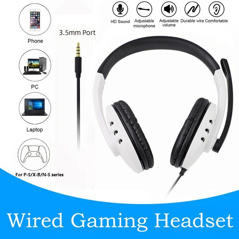 Cuffie da gioco per cuffie a cuffia stereo cablata P5 / P4 su Auricolari per i giocatori dell'orecchio per la serie X-Box con microfono per telefono PC Laptop