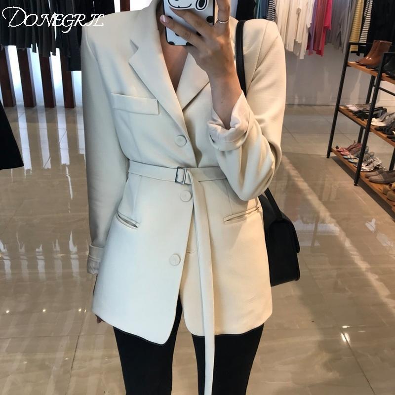 printemps veste costume mince chic OL taille costume noir long blazer blanc femmes Blazers ukraine pour les femmes formelles 201006
