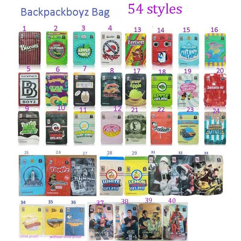 54 Stili Zaino Boyz 3.5G BAG BAGS 7G BAGGIES GARISON Glue Jin City con adesivi Backpackboyz Adesivi Sacchetti di plastica Runtz