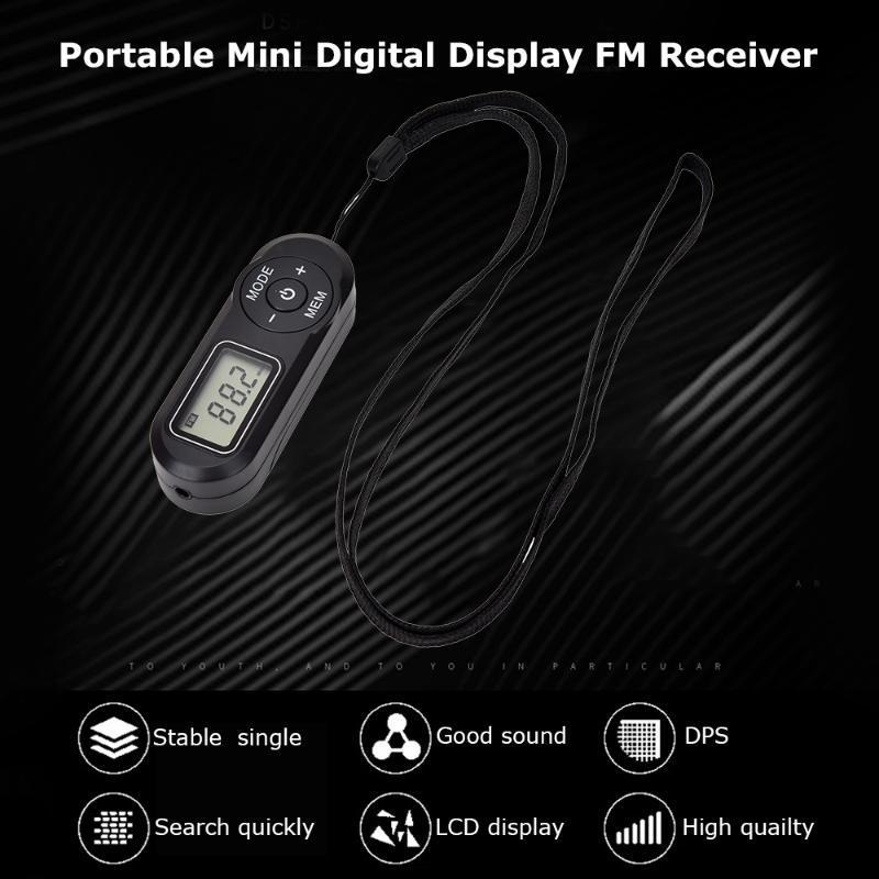 New HRD-727 portátil exibição Rádio Digital Mini FM FM retro Jogador Estilo DSP MP3 com auscultadores Lanyard
