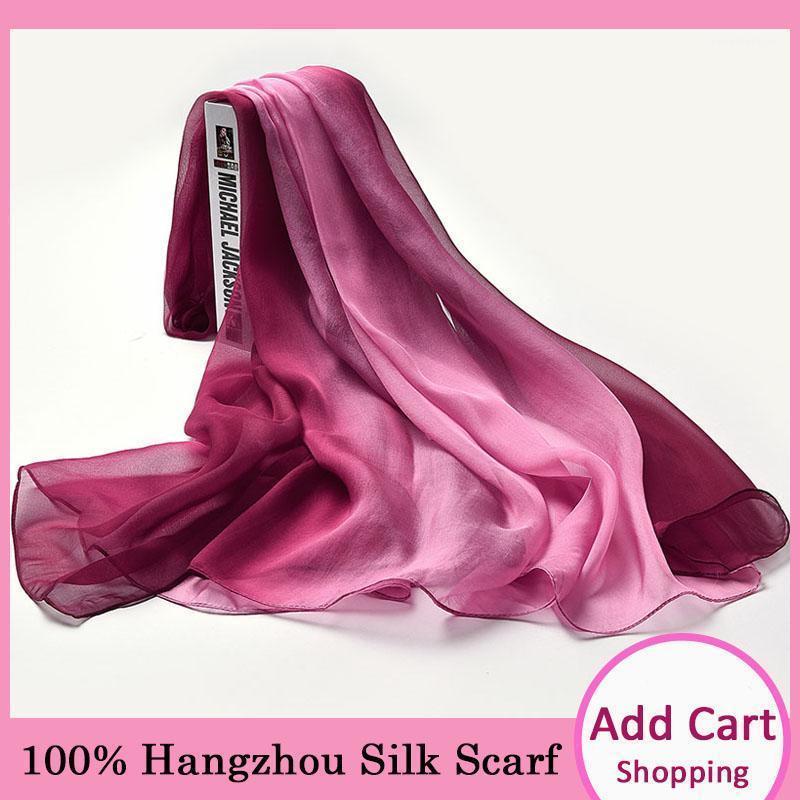 Sciarpa di chiffon di seta reale 100% per le donne estate sottile scialle di seta wrap signore in chiffon in chiffon naturale