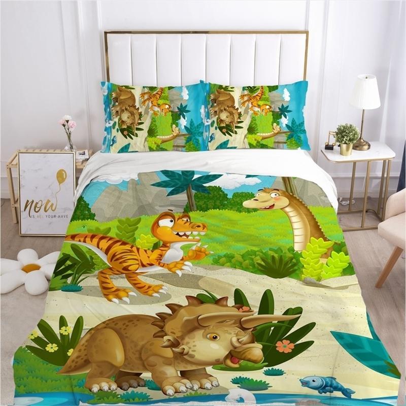 Детский мультфильм постельное белье для детей детские кроватки мальчики детские одеяло набор наволочки одеяло одеяло 12x120 / 140x210 динозавр LJ201127