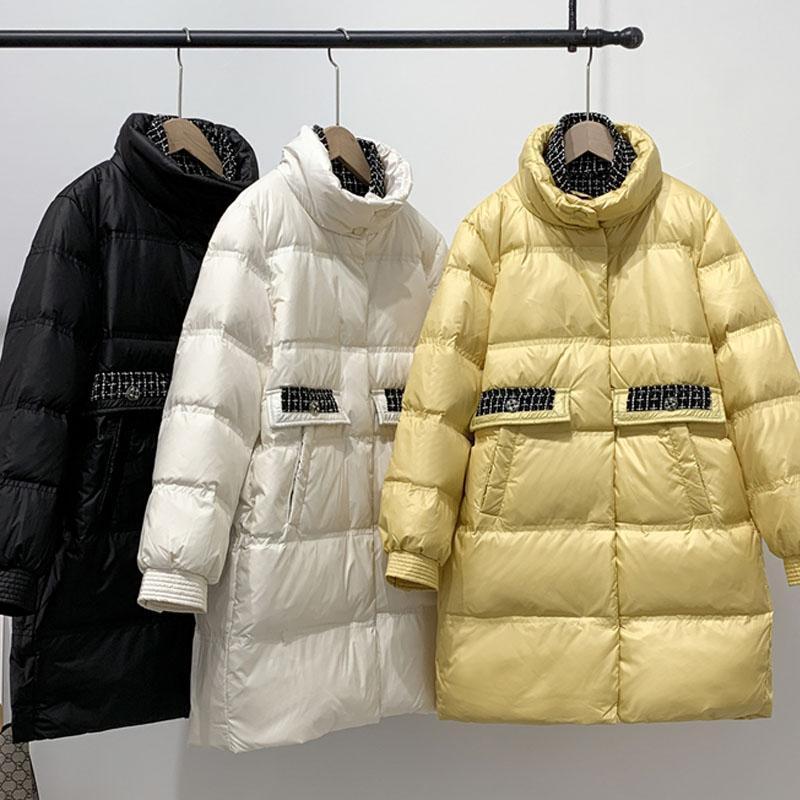 Coreano inverno caldo Anatra cappotto / giallo / bianco nero modo delle donne 2020 Femminile lungo luce Parka elegante Down Jacket