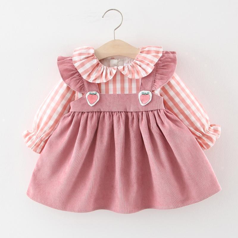 Платья девушки Детские дети платье малышей девушки оборками плед клубника одежда пэчворк повседневная одежда1