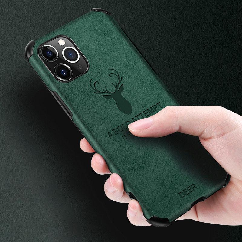 Geyik Telefon Kılıfı iPhone 12 11 Mini Pro MAX XS XR 7 8 artı SE 2 deri dokusu arka kapak kabuk için