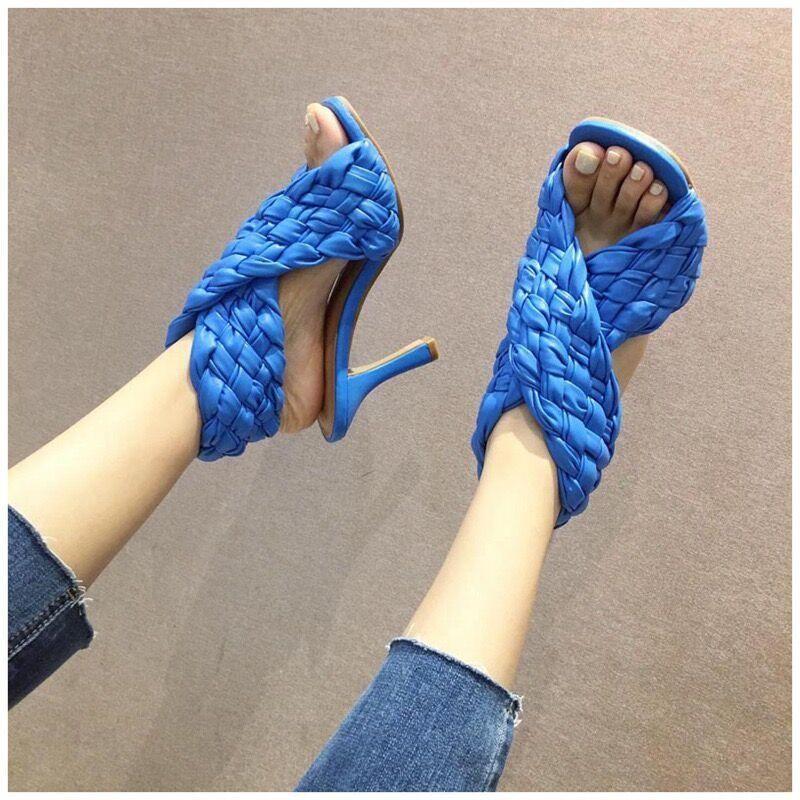 Сандалии 2021 Дамы Гладиатор Сексуальный Супер Высокий каблук Мода Weave Open Toe Cross Женская Обувь Скольжение на Платье Партии Женщина Обувь