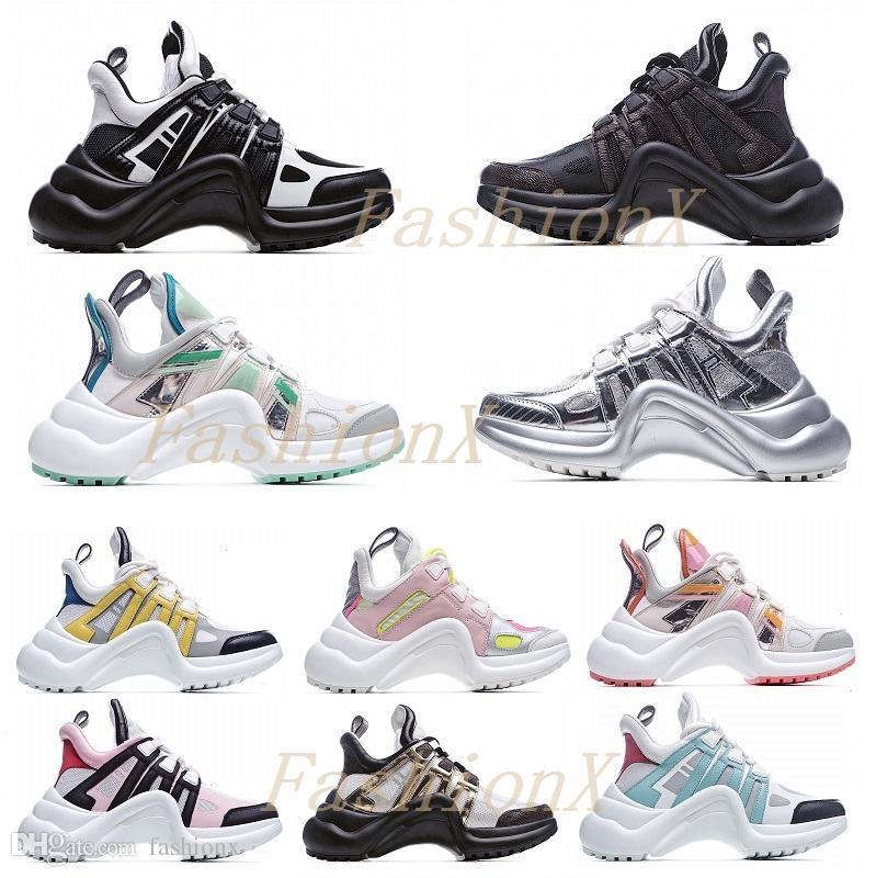 Louis Vuitton 21 new LV ARCHLIGHT shoes Moda Casual Baba Ayakkabı Blok Tarama Hakiki Deri Sneakers Örgü Siyah Nefes Yay Yüksek Sole Platformu Ayakkabı Stilleri 35-40 1 #