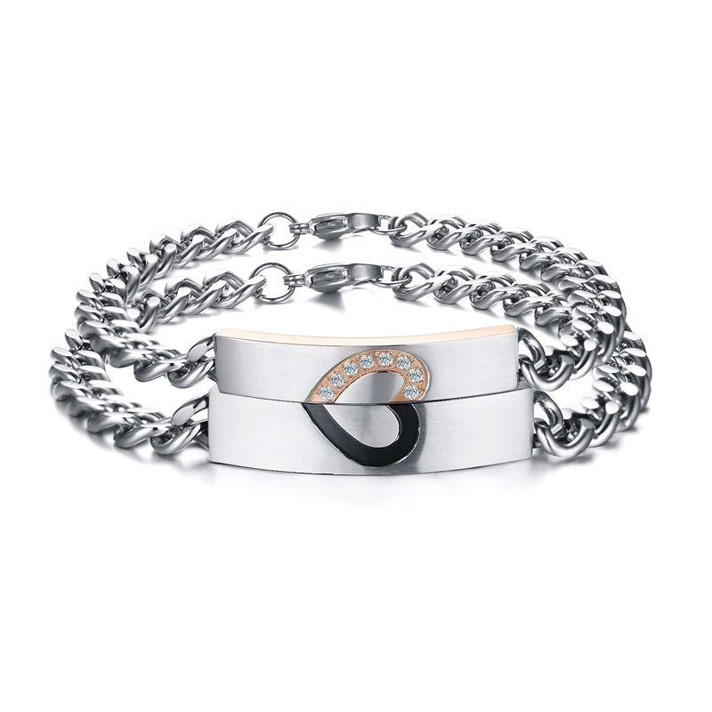 Ame o coração clássico Cubic zircônia charme de aço inoxidável casal pulseira de jóias para homens e mulheres