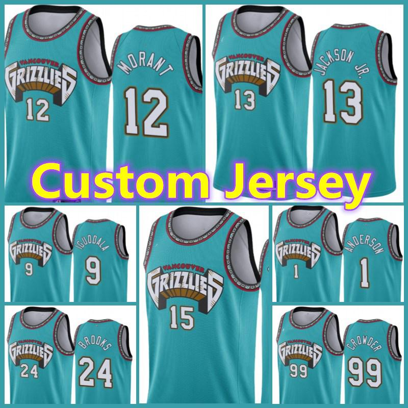 MemphisGrizzliesJersey Custom Jaren 13 Jackson Jr. 12 JA Morant Mike 10 Bibby Mike 11 Conley Brandon Grayson Clarke Allen Männer
