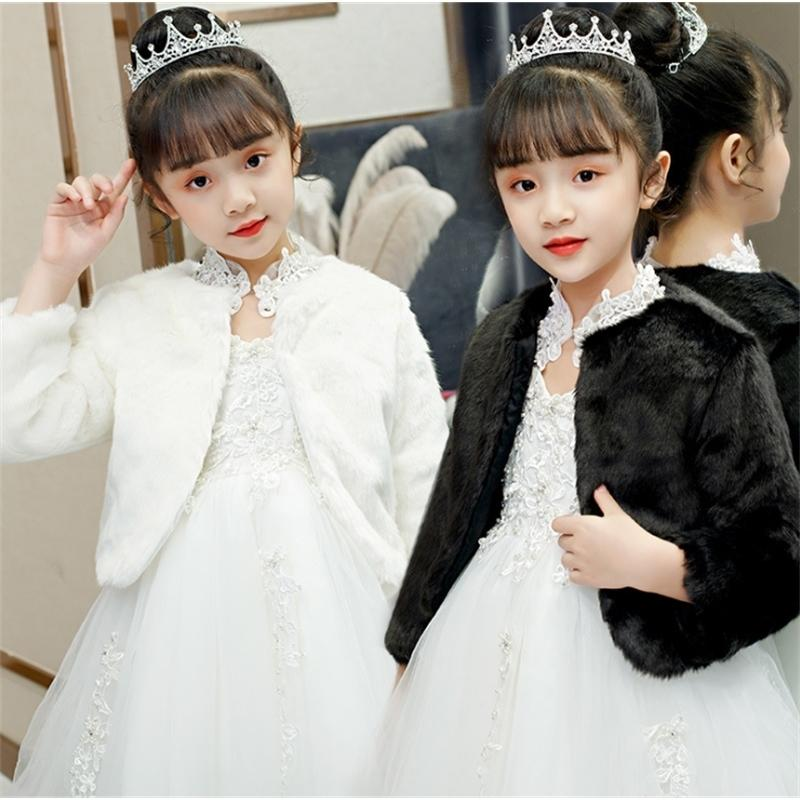 Black White Faux Fur Cape For Kids Girl Winter Warm Clothes Wedding Party Dress Lace Shawl Gill Jacket Wrap Shrug Bolero Coat 201106