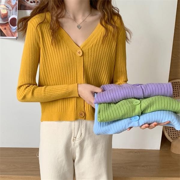 7 цветов 2020 осени сплошного цвета v шеи трикотажных свитеров кардигана с длинным рукавом женских верхней одежды пальто (C1906) C1015
