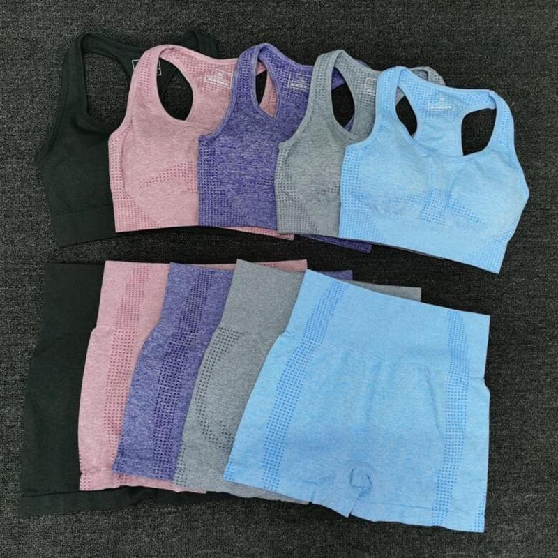 Suits 2 PCS Fitness Abbigliamento Donna insieme di yoga del reggiseno + vita alta Sport Estate GYM senza saldatura pantaloncini allenamento Pantaloni