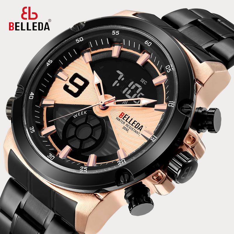 Black Steel Quarzuhr mit doppeltem analogem Sportschirm für Männer Marke Luxus Mode Schönheit