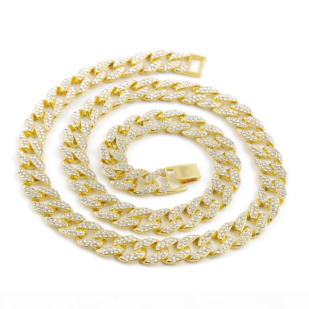 Hohe Qualität Miami Cuban Link Kette Legierung Gold überzogener voll Iced Out Rhinestons Kristall Hip Hop Bling Halskette Schmuck