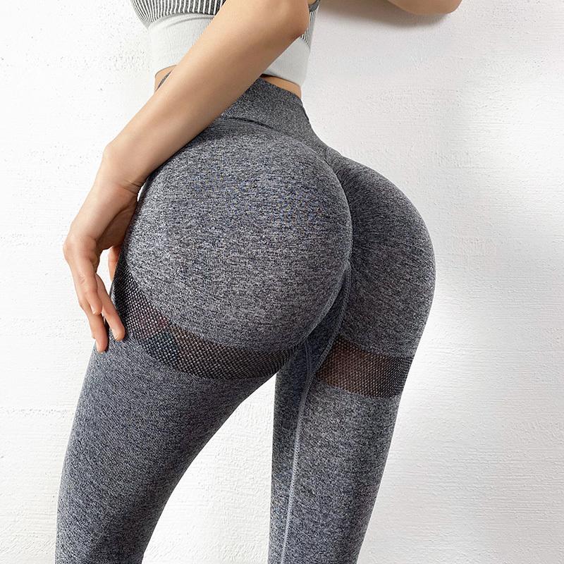 Femmes Pantalon de Yoga Sport Sans couture Leggings de gym Taille High Taille Leggings pour Fitness Haute Élasticité Pantalon Pantalon Push Up 201126
