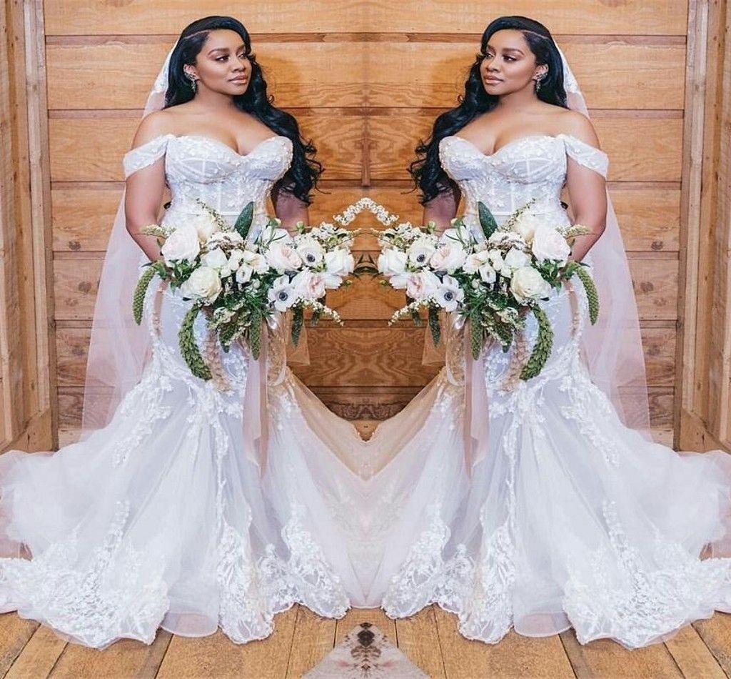 African Mermaid Wedding Dresses Plus Size Robe Off The Shoulder Full Appliqued Lace Wedding Vestidos De NoviaLace Up Arabic Bridal Gowns