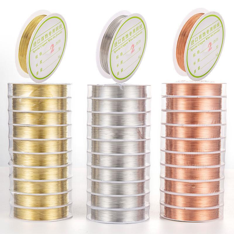 0.2mm 0.3mm 20M Rolle Kupferdraht Nagel Striping Linie Alloy Wire Schmuckfaden String Metall Holographic Halskette Schmucksache-Nagel-Kunst-Dekoration
