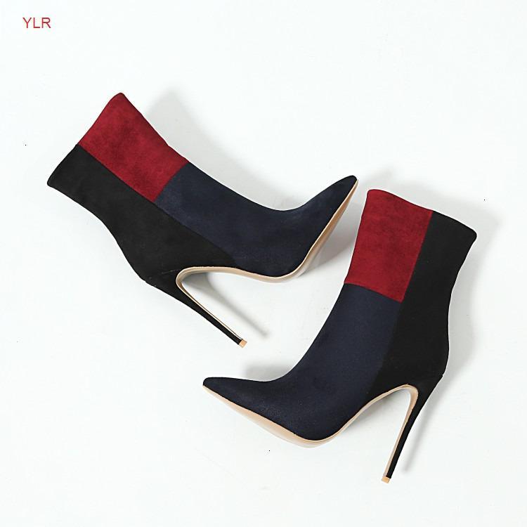 Mulheres Faux Suede Pointed Toe Super Qualidade Micro-Fibra Tecido Stiletto Coberto de Salto Alto Ankle Curto Inverno Botas de Botas de Senhoras