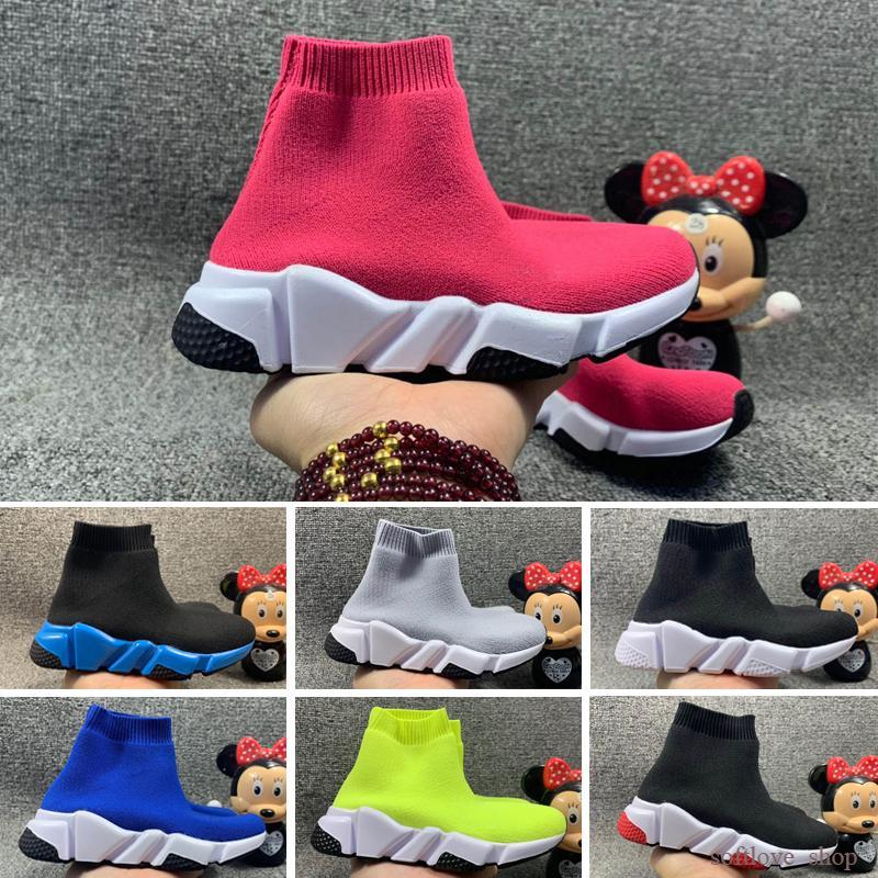 Balenciaga 2021 New Fashion Kids Shoes Children Baby Sneakers Boots Toddler Boy and Girls Wool Hecho de punto Calcetines Atléticos Calzado 24-35