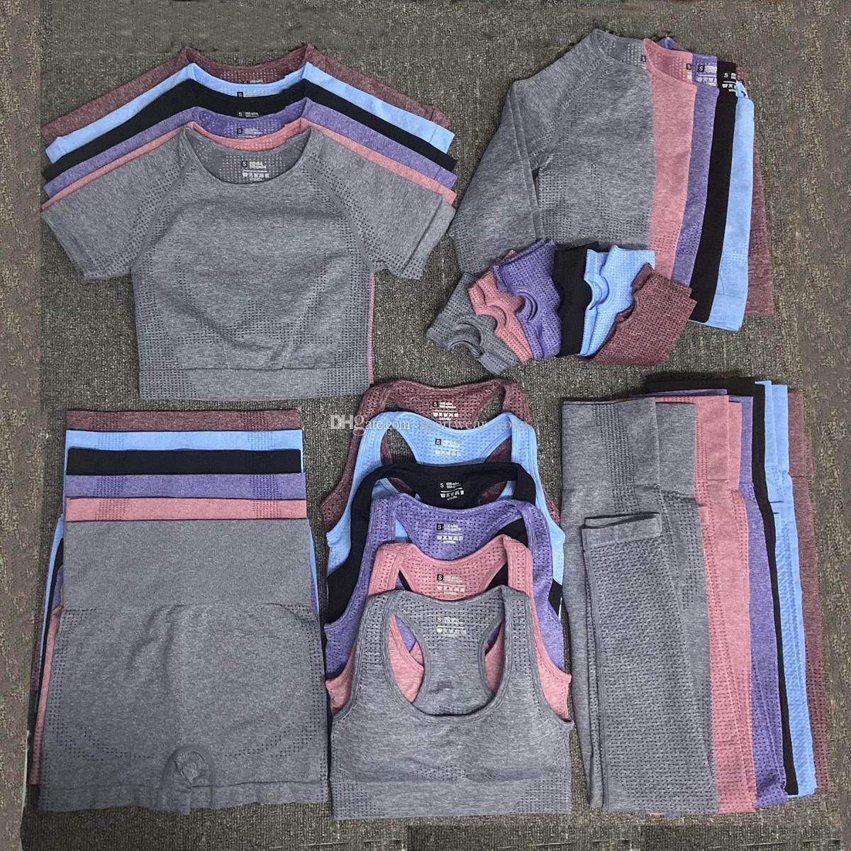 Chándalsuits diseñador para mujer yoga traje gimnasio ropa deportiva ropa deportiva deportes de cinco piezas 5pcs sujetador camiseta pantalones cortos leggings casual trajes de entrenamiento sets moda algodón