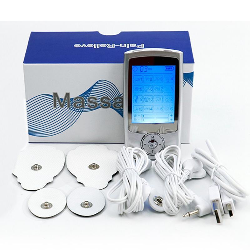 16 وضع الرقمية نبض الإلكترونية مدلك الإلكترونية مصغرة الحسابي الشخصي تحفيز كهربائي ألم الفضة