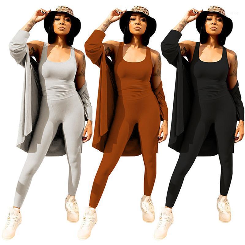 Женские трексуиты Стиль Стиль Сплошной Цвет Женщины Установите с длинным рукавом Кардиган + Комбинезон 2 шт. Сопоставляющее костюм Cousssuit Outfits1