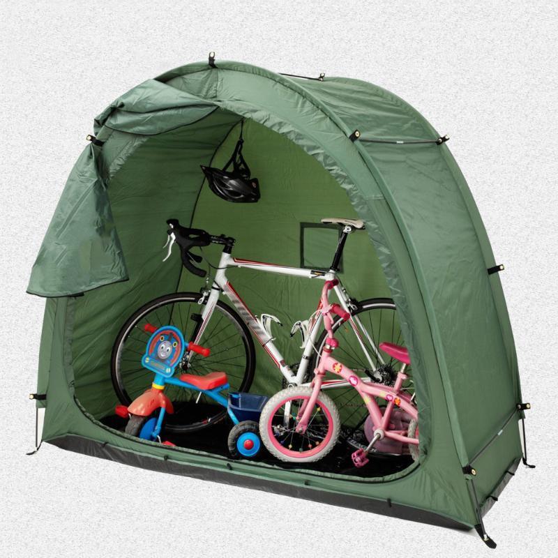 200x80x165cm bicicleta tienda de campaña tienda de campaña de campaña cobertizo de almacenamiento de bicicleta de 190t cobertizo con diseño de ventana para camping al aire libre