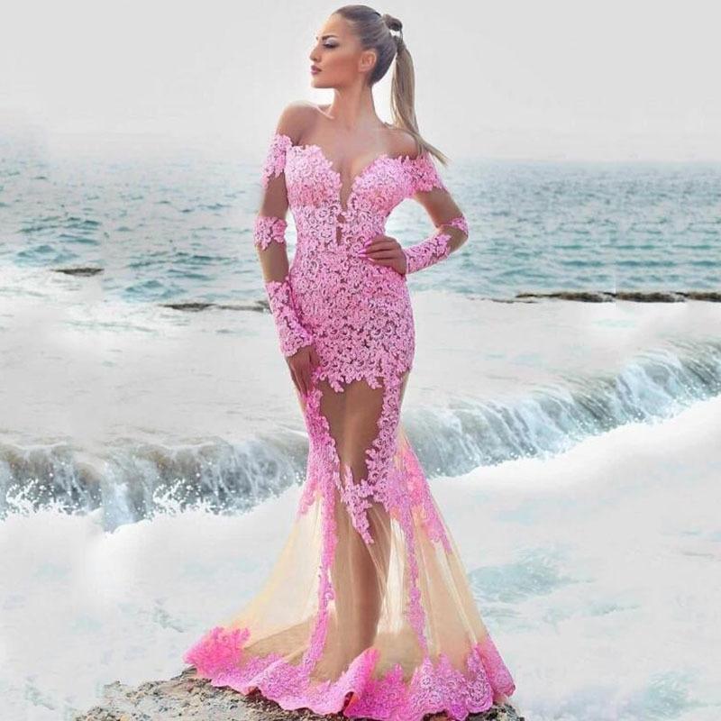 Col V élégant sur l'épaule Long Mermaid Robes de soirée personnalisées en dentelle Appliques Robes de soirée officielles Mariage 201113