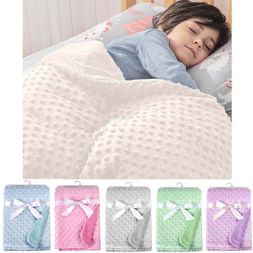 2020 Yeni Moda Bebek Yumuşak Minky Nokta Battaniye Çocuk Sıcak Polar Arabası Kapak Yorgan Çocuk Kundakçılık Yatak Mantas Para Bebe LJ201105