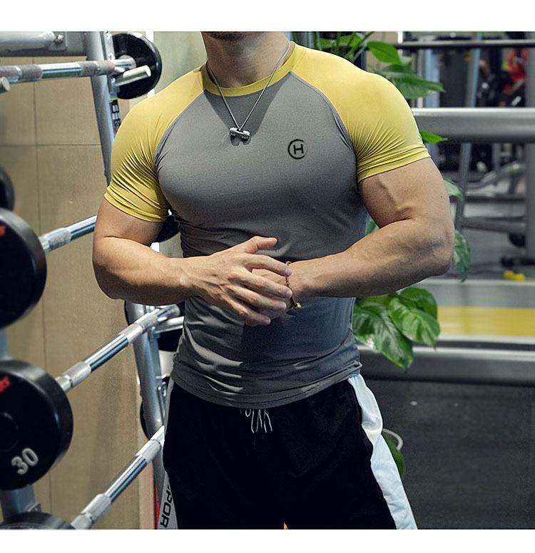 Muscle Brothers Summer Sports Short Sleeve Men's Slim Casual 5-sleeve Fitness Coach Training T-shirt