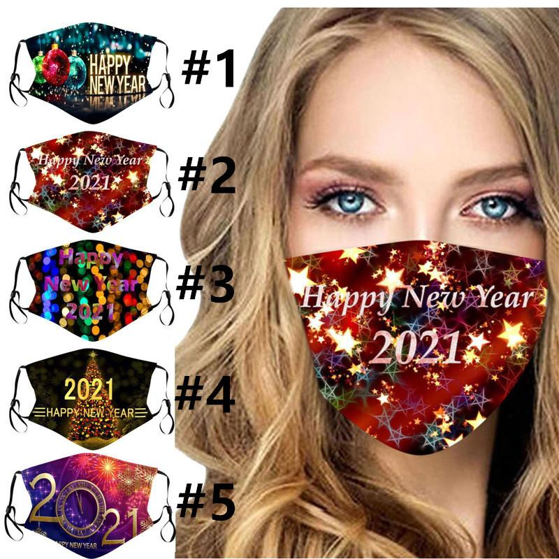 Женщины Моющиеся Маски Маска Лицевая Печать Новый Год Happy 2021 Мода вставленные Взрослые Могут Мужчины Дети Маски для лица с Фильтром 5 Цвета E110 Qmul