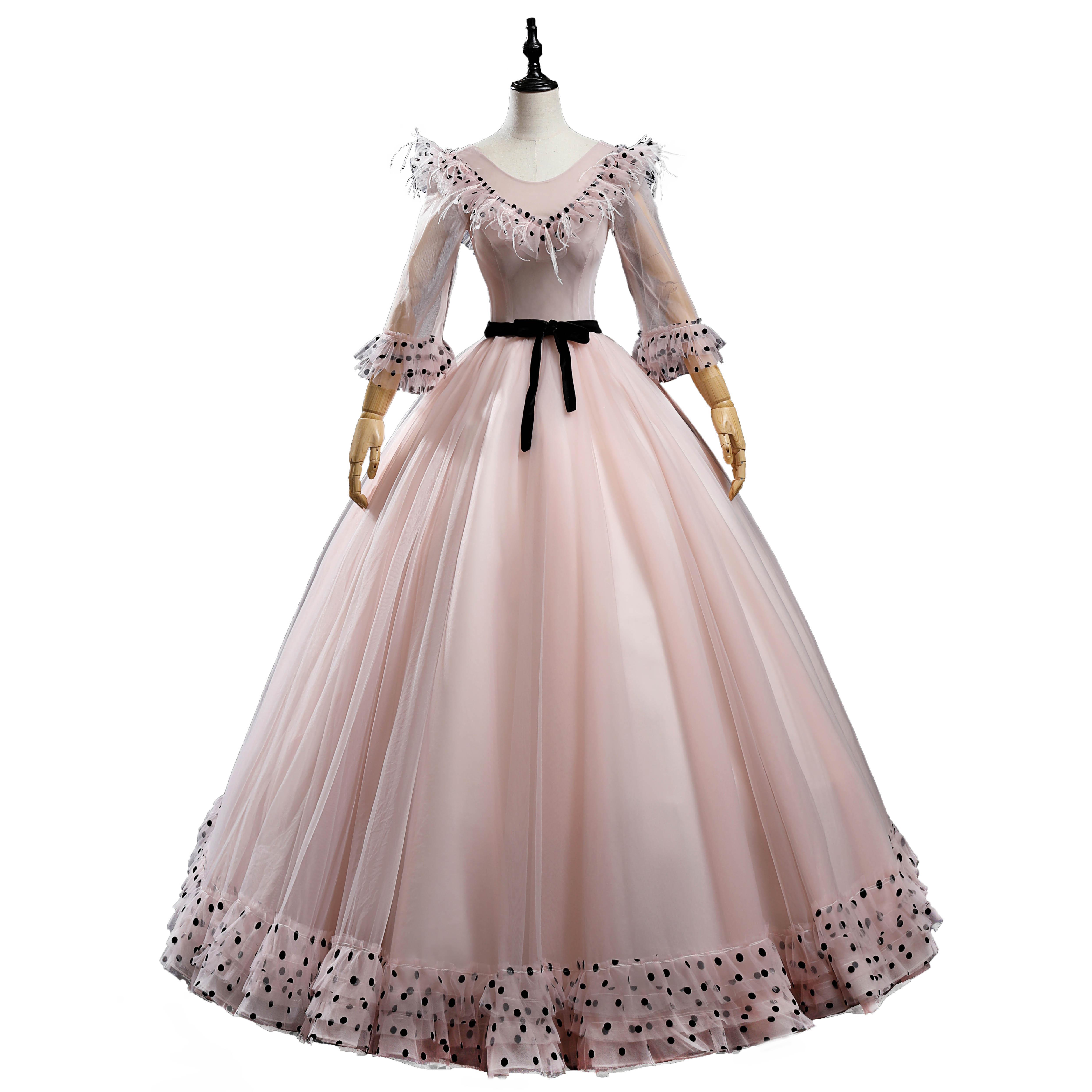 Luxusbohne Rosa Feder Polka Dot Rüschen Kragen Langes Kleid Ballkleid Opera Bühne Mittelalterliches Kleid Renaissance Cosplay Victoria Antoinette