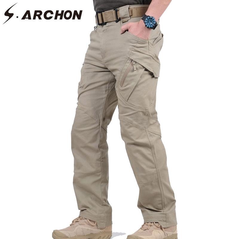 S.Archon IX9 City Military Militaire Tactical Cargo Pantalons Hommes Swat Combat Pantalon Armée Homme Casual De nombreuses poches Stretch Cotton Pants XXXL 201116