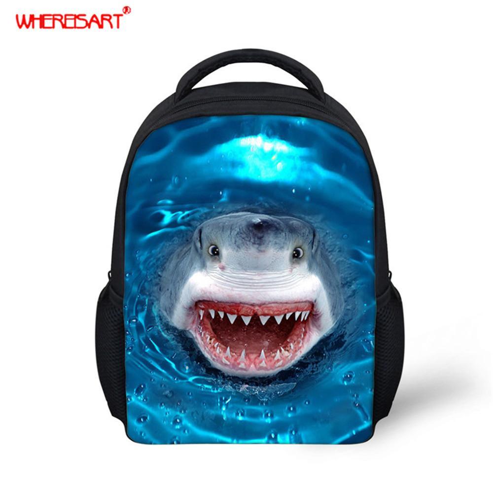 WHEREISART Kinder Mini-Schultasche für Kind-Jungen-3D Sea Shark Printed Schulrucksack Kindergarten Schulter soft DesignX1014 kühlen